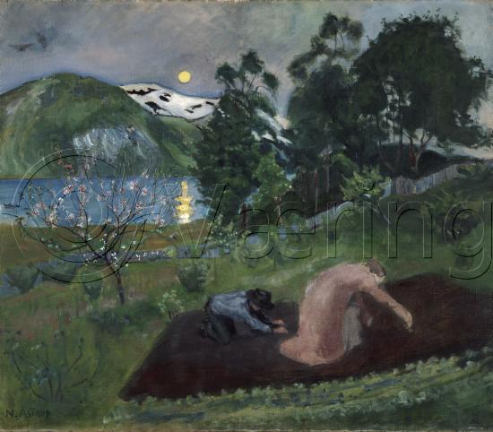 VÃ¥rnatt i hagen ( nattarbeid i hagen), 1903   astrup, nikolai   o ...