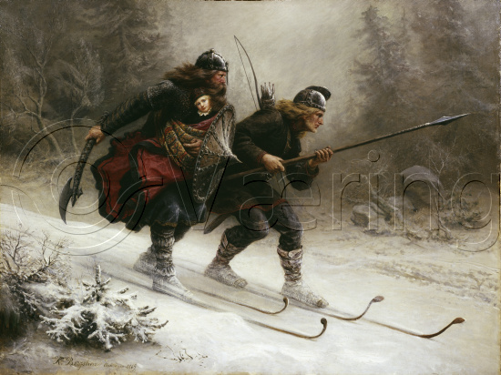 Soldiers for the Norwegian King Sverre, Torstein Skevla and Skjervald Skrukka carrying the king's son Hakon Hakonsson, (oil on canvas)